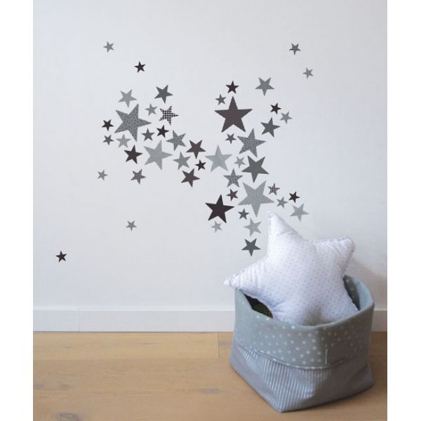 Stickers toiles trendy gris bambins d co - Stickers etoile grise ...