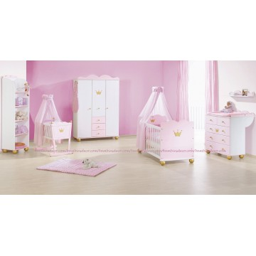 Lit b b commode armoire princesse caroline bambins d co for Commode bebe rose