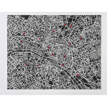 Carte murale Plan de Paris noir
