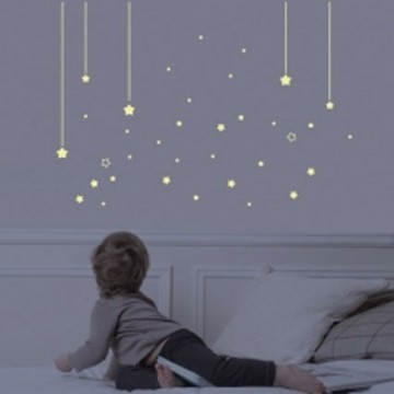 Sticker chambre enfant phosphorescent mur d 39 toiles bambins d co - Stickers etoiles chambre bebe ...