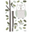 Sticker Hibou et feuilles de Chêne In the Wood
