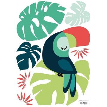 Sticker feuille Toucan